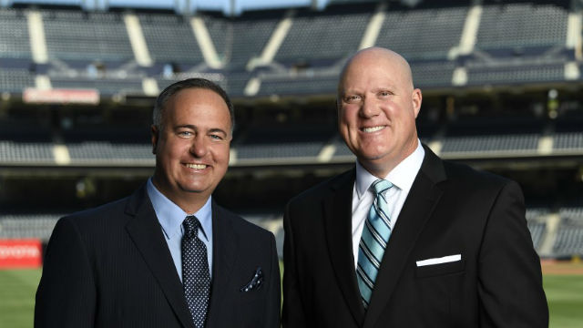 Padres announcers Don Orsillo (left) and Mark Grant