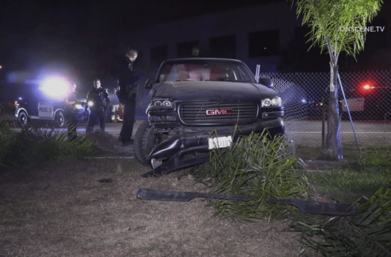 A truck crashed after a police pursuit.