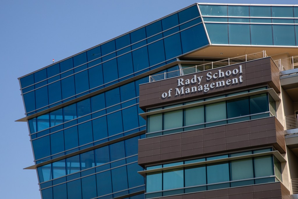 The Rady School of Management at UC San Diego is shown in this photograph from Aug. 23, 2019.