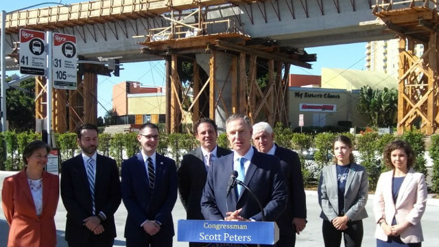 Rep. Scott Peters outside future trolley station