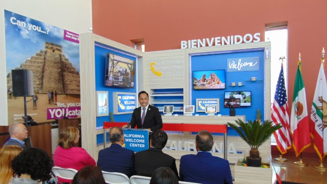 Todd Gloria speaks at the opening of the California Welcome Center