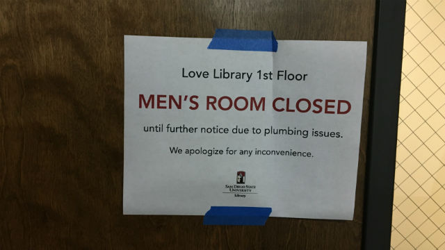 Sign warming of closed men's room