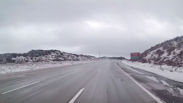 Snow along Interstate 8 on Thursday