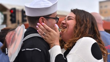 Ashley Sherman is overjoyed to be reunited with her husband, Jeff, at the USS Abraham Lincoln homecoming.