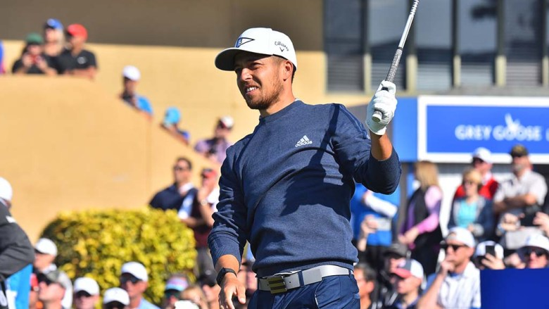 Xander Schauffele of San Diego tees off on Hole 10 of the south course at the Farmers Insurance Open.
