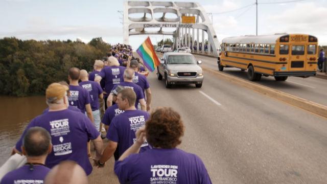 Chorus members approach Edmund Pettus Bridge in Selma