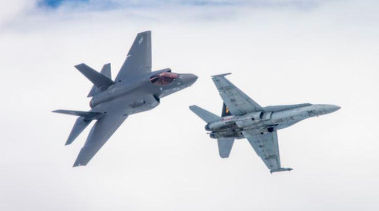 F-35C Lightning II and F/A-18 Hornet