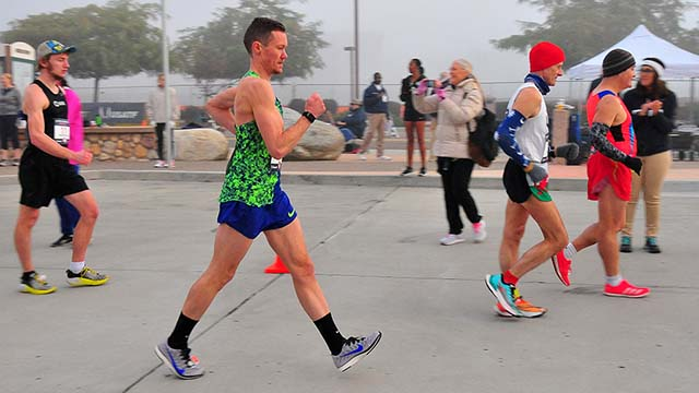 Chris Mosier strides out in Olympic Trials 50K race walk in Santee.