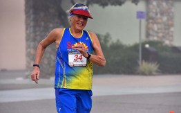 Masters world record holder Darlene Backlund, 74, of Palm Springs smiled around the 31-mile course.