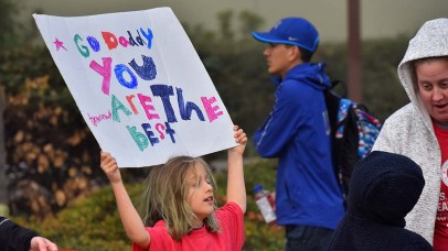 Ivy Zamudio of Santa Maria cheers her father, Adrian, at Olympic Trials 50K walk.