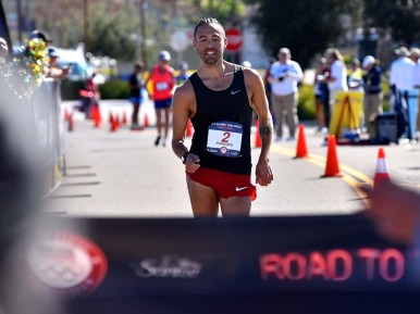 Matt Forgues nears finish as runner-up in the 50K walk at the Olympic Trials in Santee.