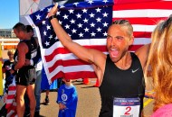 Matthew Forgues of Boothbay, Maine — now training in Chula Vista — celebrates runner-up finish in Olympic Trials 50K walk in Santee.