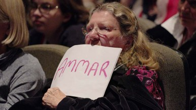 A fan of Democrat Ammar Campa-Najjar showed sign of support at Valley Center forum.