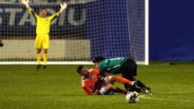 The San Diego Legion goalie reacts to a teammate blocking a kick toward the goal.