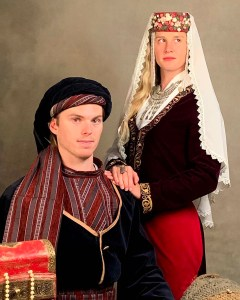 Nic and Allison Halverson posed in traditional Armenian garb at a Yerevan photo studio.