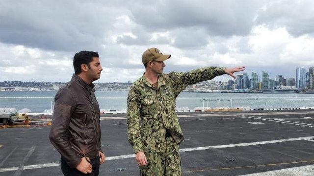 Ammar Campa-Najjar aboard an aircraft carrier