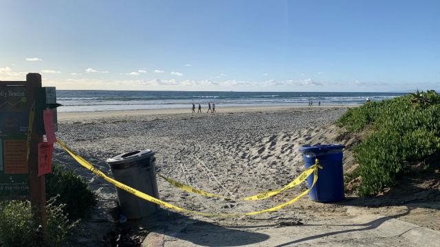 Closed beach in Del Mar