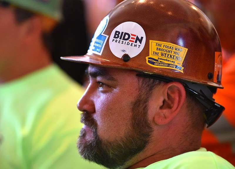 At least five members of the ironworkers union led their support to a gathering for Dr. Jill Biden.