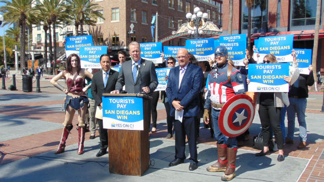 Mayor Kevin Faulconer speaks at the press conference