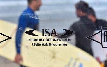 A para-surfer is seen through a transparent interview backdrop.