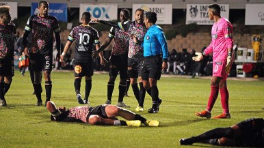 A player pleas to a referee after a play that left two Las Vegas players injured.