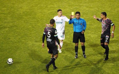 Javan Torre, (No. 5) of the Las Vegas Lights, draws a yellow card in the second half of the match.