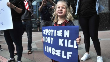 A young girl's sign addressed an issue other than the coronavirus.