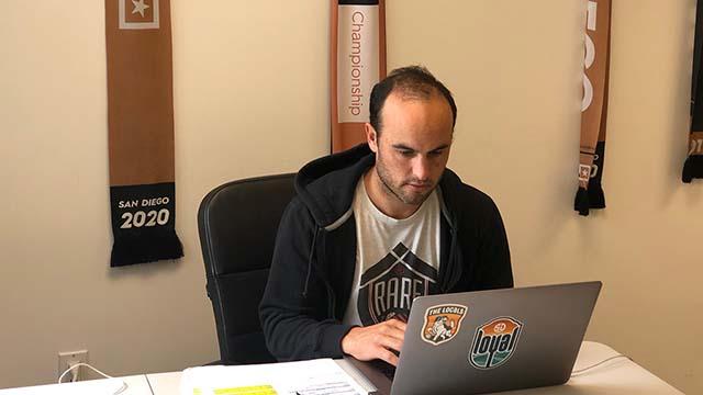 Landon Donovan, coach of San Diego Loyal Soccer Club, works at home.