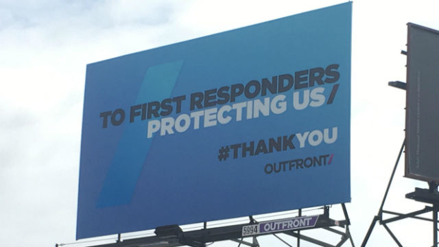 Billboard in Hillcrest thanks first responders