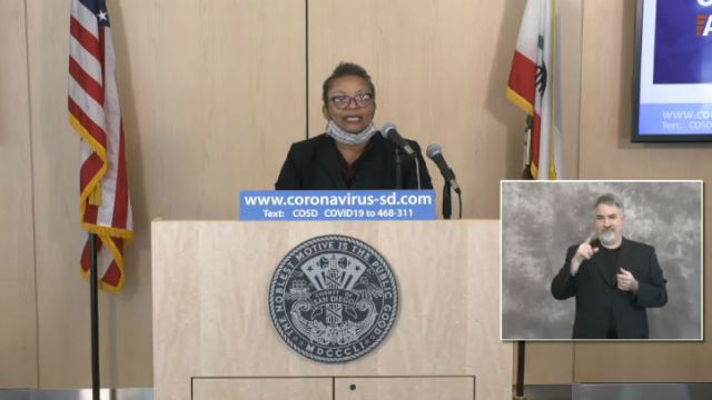 Dr. Wilma Wooten at media briefing