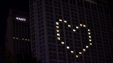 The Manchester Grand Hyatt San Diego displays a heart on two sides of its building.