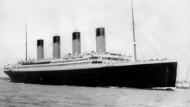 RMS Titanic departing Southampton on April 10, 1912.