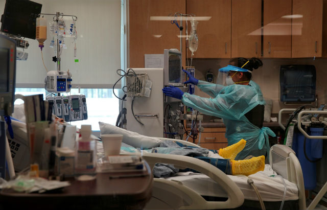 A COVID-19 patient is treated in El Centro