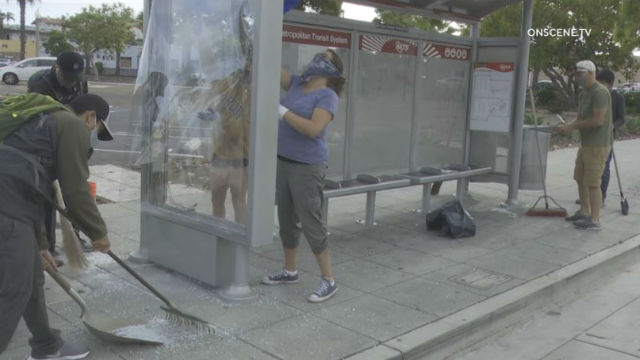 La Mesa residents help cleanup trolley station after protests