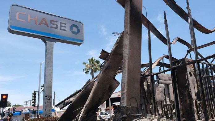 The contents of the Chase Bank were destroyed after being burned by protesters.