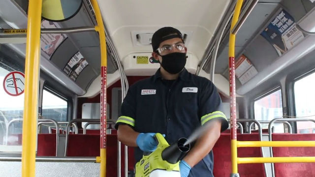 An MTS bus is disinfected