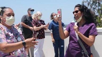 Sharp Grossmont Hospital worker reacts to video she took of U.S. Air Force Thunderbirds' flyover.