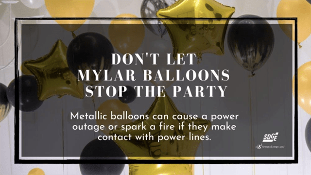 SDG&E issued a warning, with this graphic, about the danger of Mylar balloons.