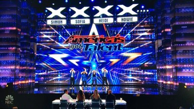 """San Diego's Old School Skaters begin a routine that drew boos from thousands in a Pasadena audience for """"America's Got Talent."""""""