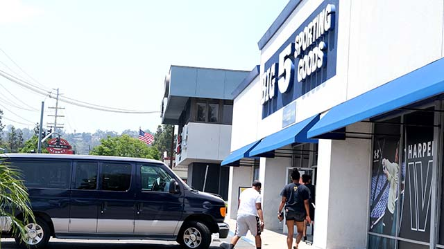 Customers picked up orders at Big 5 Sporting Goods as restrictions were lifted on some retail stores.