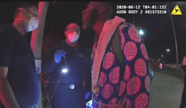 Body camera image of confrontation