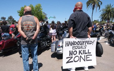 Among the protesters in La Mesa were members of numerous motorcycle groups showing support for the Black Lives Matter movement.