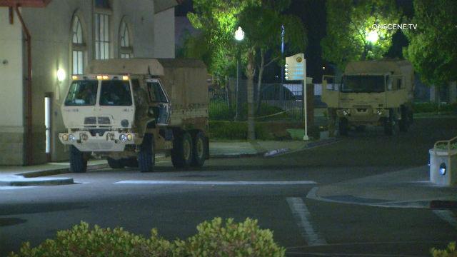 National Guard trucks in La Mesa
