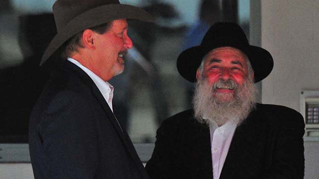 Chabad of Poway Rabbi Yisroel Goldstein and Poway Mayor Steve Vaus at September 2019 arrival in San Diego of President Trump.