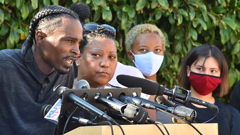 Amaurie Johnson at a Wednesday press conference in La Mesa.