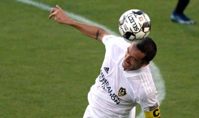 LA Galaxy's Jesus Vazquez does a header during a match with San Diego Loyal at USD.