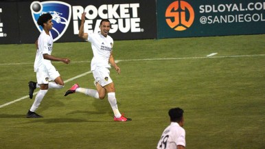 LA Galaxy's Jesus Vazquez (second from the left) celebrates after scoring the match's only goal.