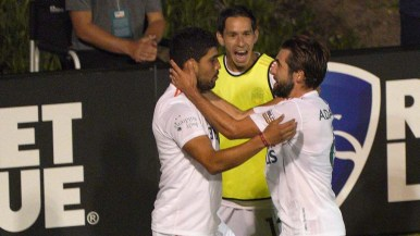 Irvin Parra is congratulated by teammates after scoring the second goal of the San Diego Loyal vs the La Vegas Lights.