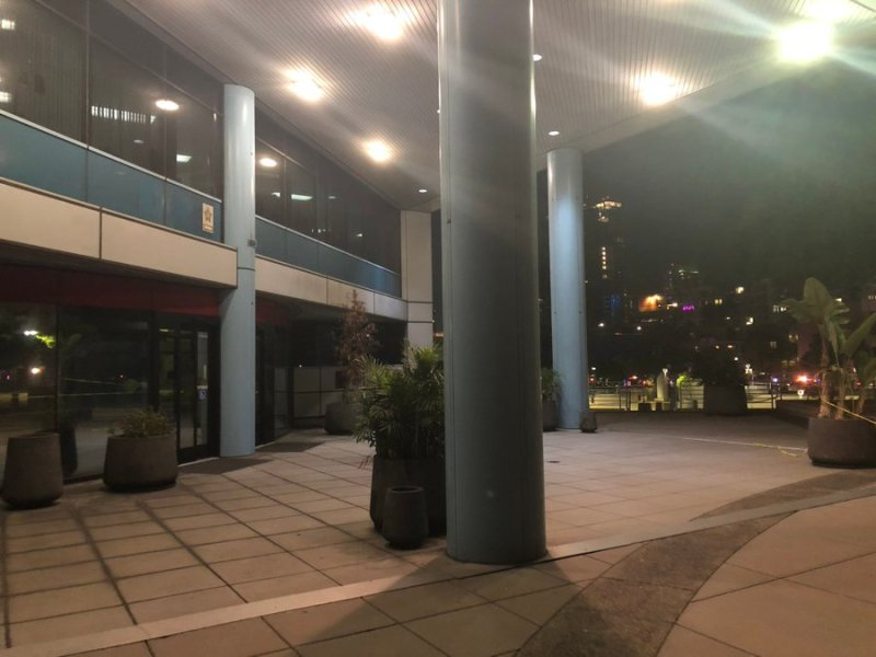 Entrance to San Diego Police headquarters after the shooting
