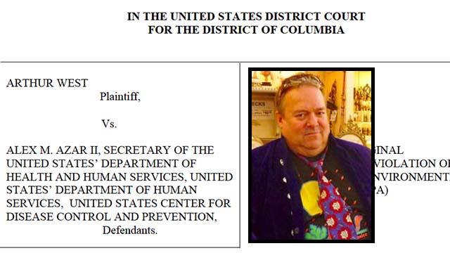 Arthur West, shown with title of his complaint against HHS Secretary Alex Azar.
